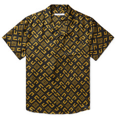 Givenchy Camp-Collar Logo-Print Silk-Twill Shirt