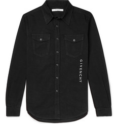 Givenchy Slim-Fit Logo-Embroidered Denim Shirt