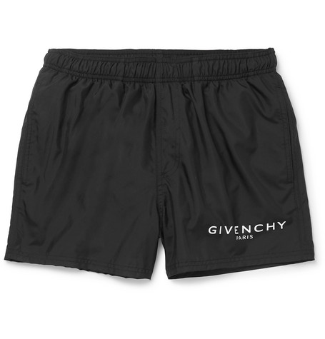 GIVENCHY | Givenchy - Slim-fit Short-length Logo-print Swim Shorts - Black | Goxip