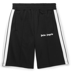Palm Angels - Wide-Leg Webbing-Trimmed Logo-Print Jersey Shorts