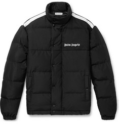 Palm Angels Striped Logo-Print Quilted Shell and Canvas Down Jacket