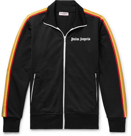 Slim Fit Logo Print Webbing Trimmed Tech Jersey Track Jacket by Palm Angels