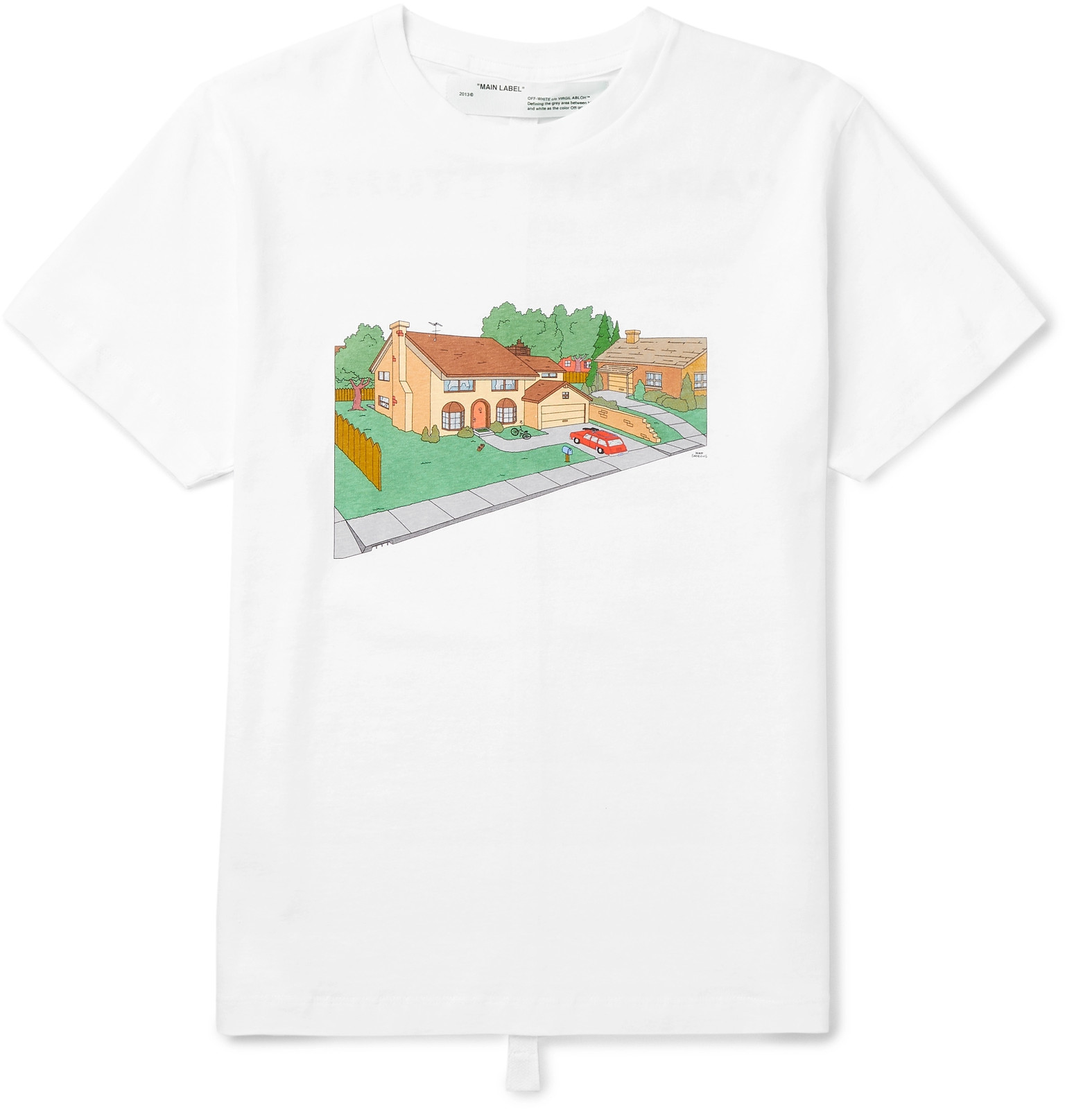 Off White Simpsons House Slim Fit Printed Cotton Jersey T Shirt