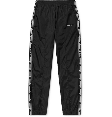 search for latest 50-70%off hot sales Off-White - Slim-Fit Webbing-Trimmed Shell Track Pants