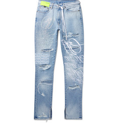 Off-White + EV BRAVADO Slim-Fit Crystal-Embellished Embroidered Distressed Denim Jeans