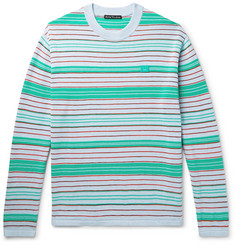Acne Studios Nimah Appliquéd Striped Cotton-Blend Sweater