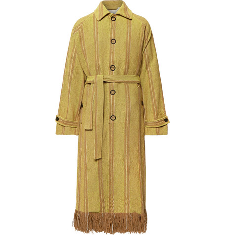 Oversized Fringed Striped Woven Coat by Acne Studios