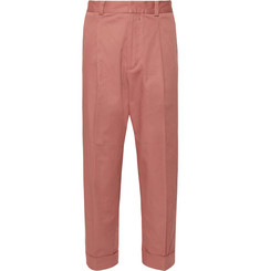 Acne Studios Pierre Cropped Pleated Cotton-Blend Trousers