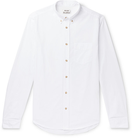 Isherwood Button Down Collar Cotton Poplin Shirt by Acne Studios