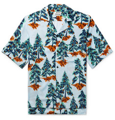Acne Studios Simon Camp-Collar Printed Voile Shirt