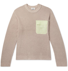 Acne Studios - Karim Oversized Ripstop-Trimmed Cotton and Linen-Blend Sweater