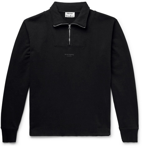 Faraz Logo Print Loopback Cotton Jersey Half Zip Sweatshirt by Acne Studios