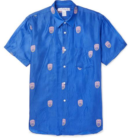 Comme Des Garçons Shirt T-shirts EMBROIDERED VOILE SHIRT - BLUE