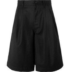Comme des Garçons SHIRT Wide-Leg Pleated Wool-Twill Shorts