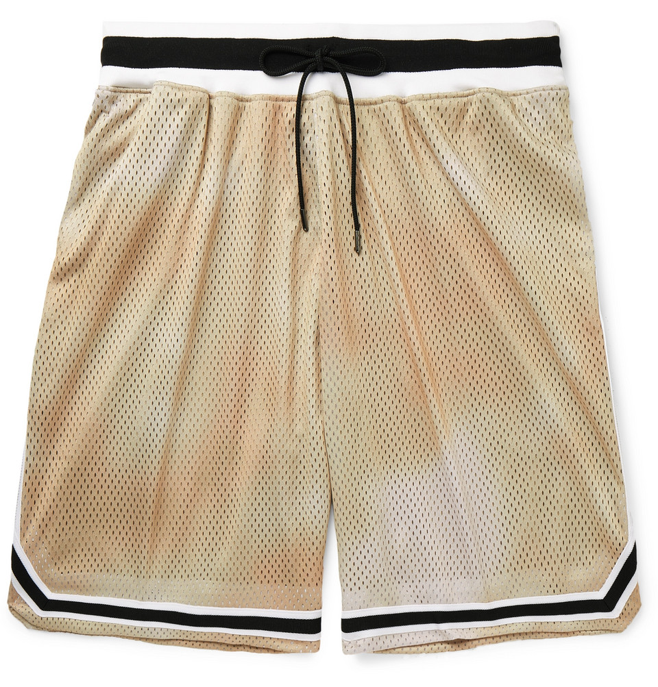 Tie-dyed Mesh Drawstring Shorts - Beige