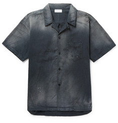 John Elliott Gas Station Camp-Collar Distressed Cotton Shirt