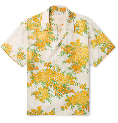 John Elliott Camp-Collar Floral-Print Twill Shirt