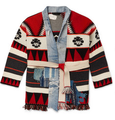 Alanui + Greg Lauren Shawl-Collar Denim-Trimmed Cashmere Cardigan
