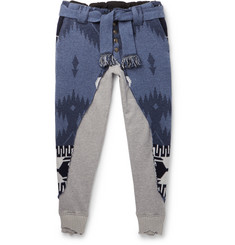 Alanui - + Greg Lauren Tapered Panelled Cashmere-Intarsia and Loopback Cotton-Jersey Sweatpants