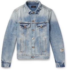 Alanui Slim-Fit Intarsia Cashmere-Panelled Denim Jacket
