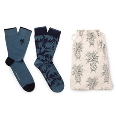 Desmond & Dempsey - Two-Pack Stretch Cotton-Blend Socks