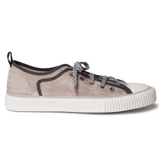 9aed1b4aa915 Lanvin Cap-Toe Canvas-Trimmed Velvet Sneakers