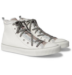 Lanvin - Canvas and Velvet High-Top Sneakers