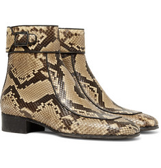 Saint Laurent - Miles Leather-Trimmed Python Boots