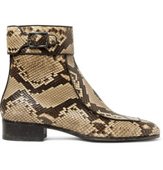 Saint Laurent Miles Leather-Trimmed Python Boots