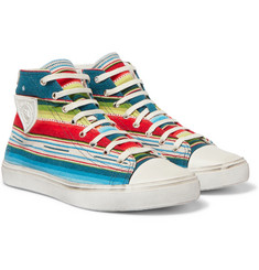 Saint Laurent - Striped Jacquard High-Top Sneakers