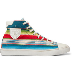 Saint Laurent Striped Jacquard High-Top Sneakers