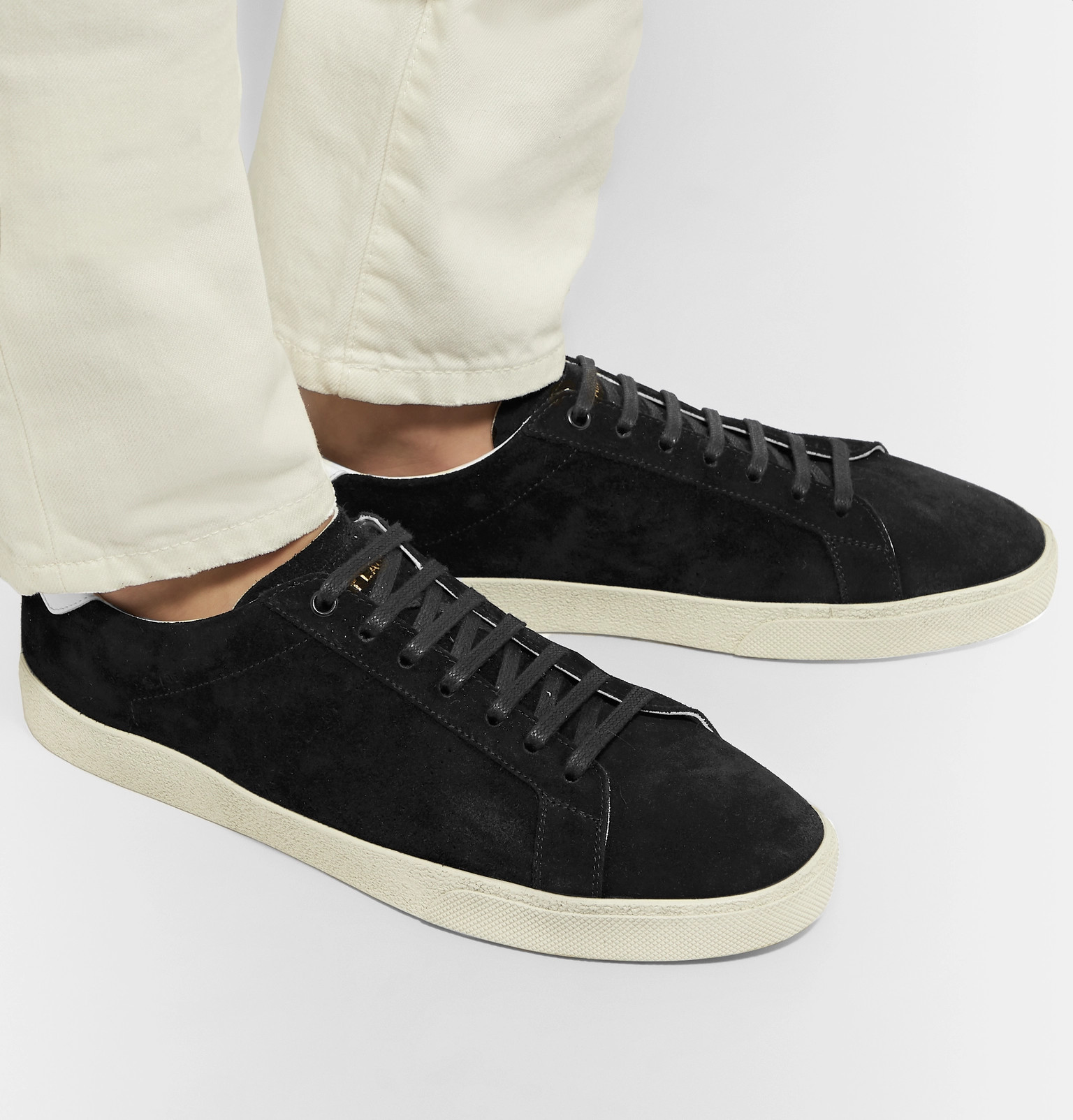 695fb2bc421 SAINT LAURENT - SL/06 Court Classic Leather-Trimmed Suede Sneakers