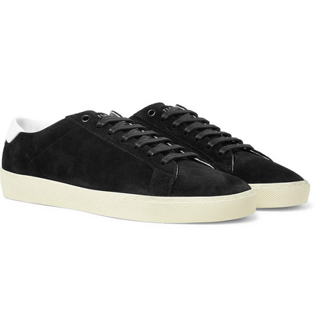 2a461166996 Saint Laurent Sl/06 Court Classic Leather-Trimmed Suede Sneakers In Black