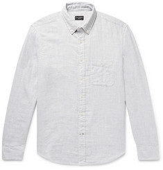 Club Monaco Slim-Fit Button-Down Collar Double-Faced Mélange Cotton Shirt