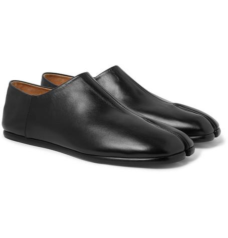 Tabi Collapsible-heel Split-toe Leather Loafers - Black