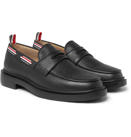 Grosgrain Trimmed Pebble Grain Leather Penny Loafers by Thom Browne