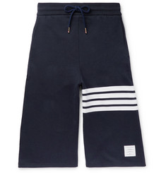 Thom Browne Wide-Leg Striped Loopback Cotton-Jersey Shorts
