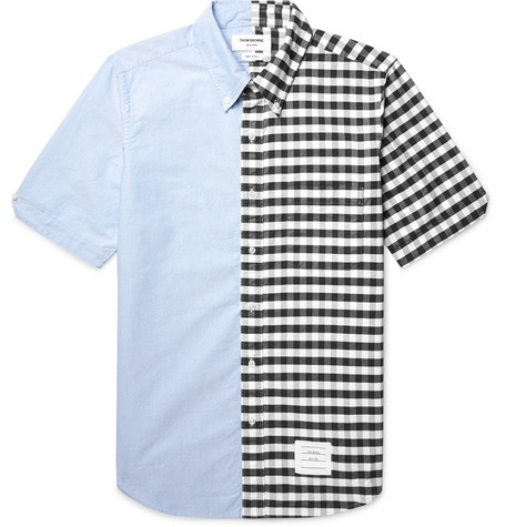 Slim Fit Button Down Collar Panelled Cotton Oxford Shirt by Thom Browne