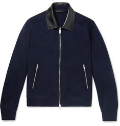 Berluti Leather-Trimmed Cashmere Bomber Jacket