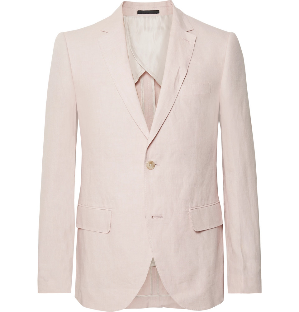 Grant Light-pink Slim-fit Linen Blazer - Pink