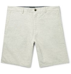 Club Monaco Maddox Puppytooth Linen and Cotton-Blend Shorts