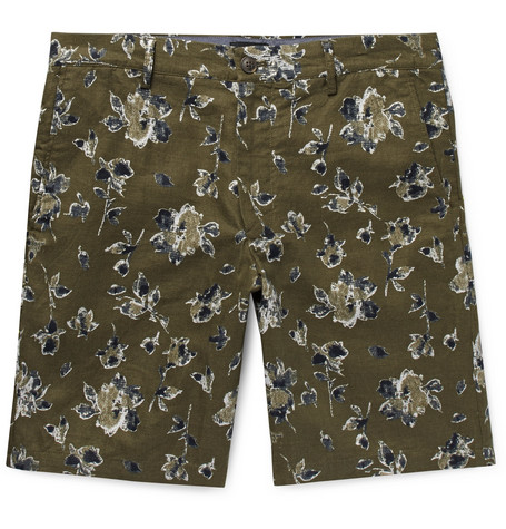 Club Monaco Maddox Floral-Print Linen and Cotton-Blend Shorts