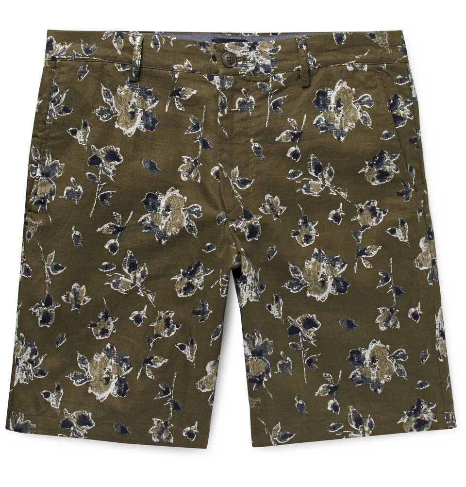 Maddox Floral-print Linen And Cotton-blend Shorts - Army green