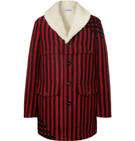 Loewe – Shearling-lined Striped Wool And Silk-blend Jacquard Coat – Red
