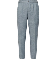 Club Monaco - Lex Slim-Fit Tapered Mélange Linen-Blend Trousers