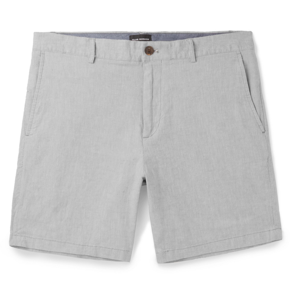 Baxter Slim-fit Stretch Linen And Cotton-blend Chambray Shorts - Gray