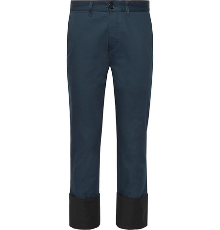 Cropped Cuffed Herringbone Cotton Chinos by Loewe