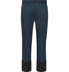 Loewe - Cropped Cuffed Herringbone Cotton Chinos