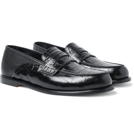 collapsible-heel-croc-effect-and-full-grain-leather-penny-loafers by loewe