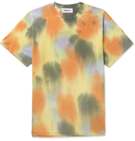 Oversized Tie Dyed Cotton Jersey T Shirt by Ambush®